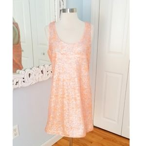 Shoshanna Peach and Silver Sequin Midi Size 8